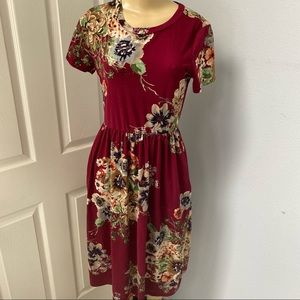Soft Brushed Floral Midi Dress With Pockets S
